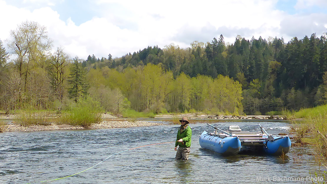 An angler fly fishing for steelhead in the Sandy River, in Oregon, in April.