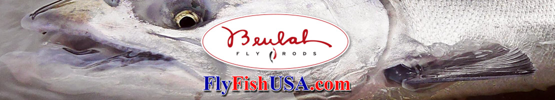 The Beulah and FlyFishUSA logos rest on the gill plate of a giant Oregon Chinook salmon.