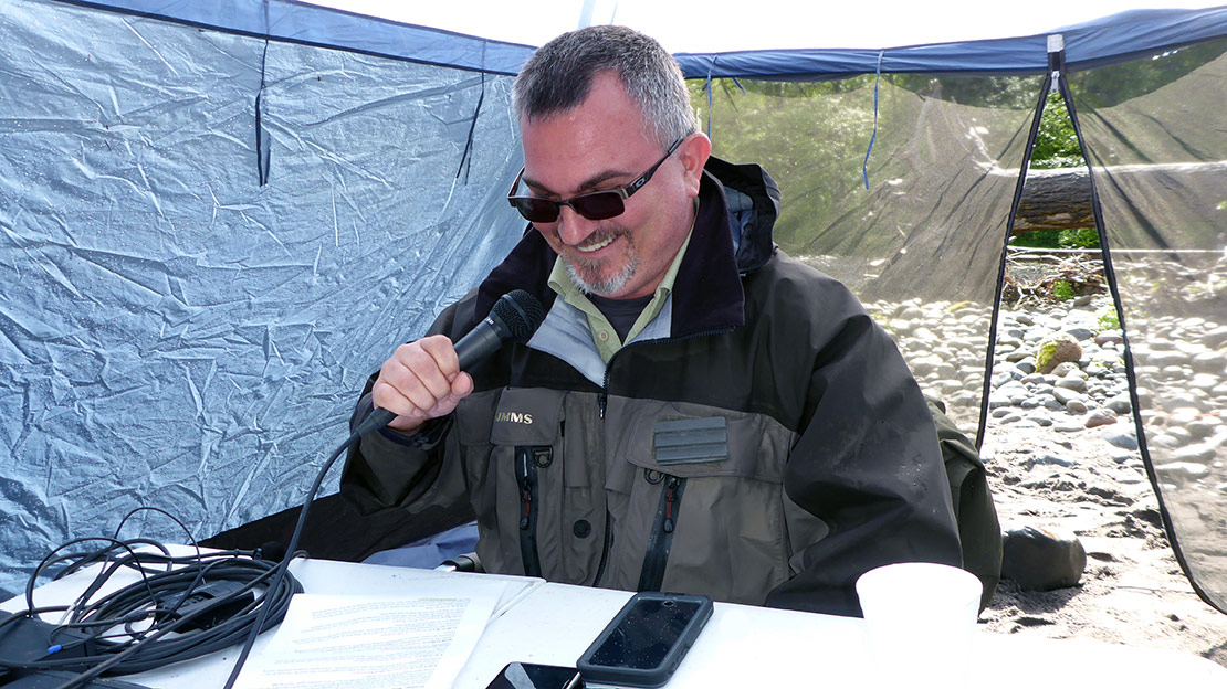 Derek Bachmann is the announcer at The Sandy River Spey Clave.