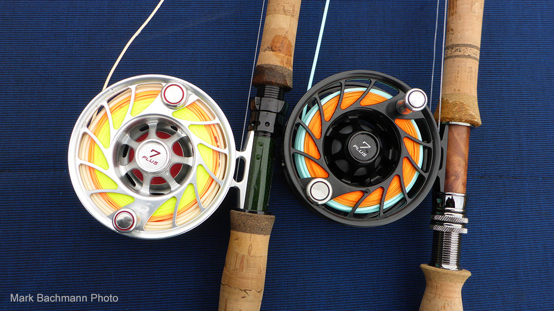 Hatch Outdoors Finatic Reels com in a variety of colors. Black and silver reels ar pictured here on the engine cover of Mark's jet boat.
