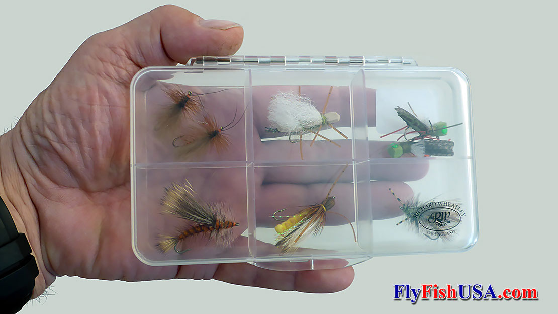 Richard Wheatley Clear-Site fly boxes are constructed from lightweight, clear, unbreakable ABS. This one is stocked for the world famous salmonfly hatch on the Deschutes River.