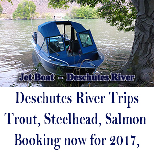 This is fishing guide, Mark Bachmann's Jet Boat on the Deschutes River in Oregon.