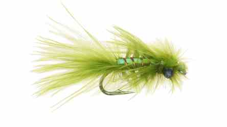 Rowleys Pearly Damsel is made mostly of marabou feather fibers with a strip pf pearl flash down the back and has plastic eyes added.