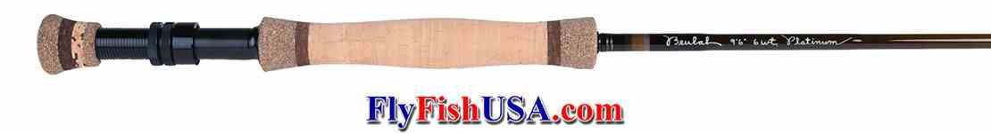 Beulah Platinum PL696-4 Fly Fishing rod, handle showing.