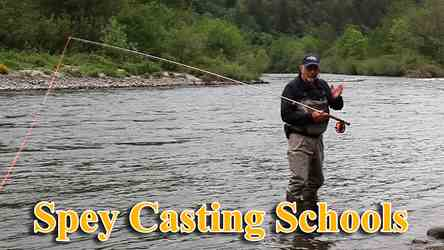 Learn Spey Casting for salmon and steelhead from experts. This picture is of Mark Bachmann teaching Spey Casting on the Sandy River in Oregon.