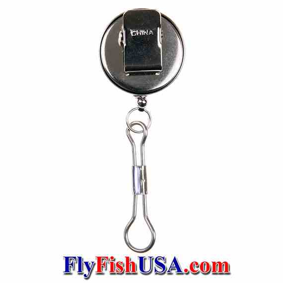 Angler's Accessories Retractor, Chrome, Clip-on, rear view, Picture