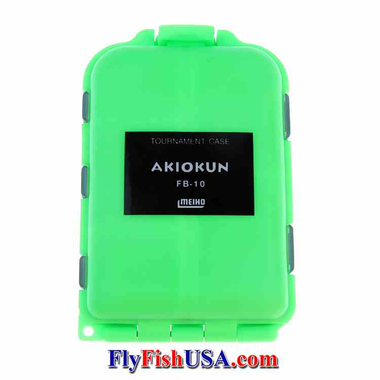 Meiho 8-compartment competition fly box, lime green color, closed, picture