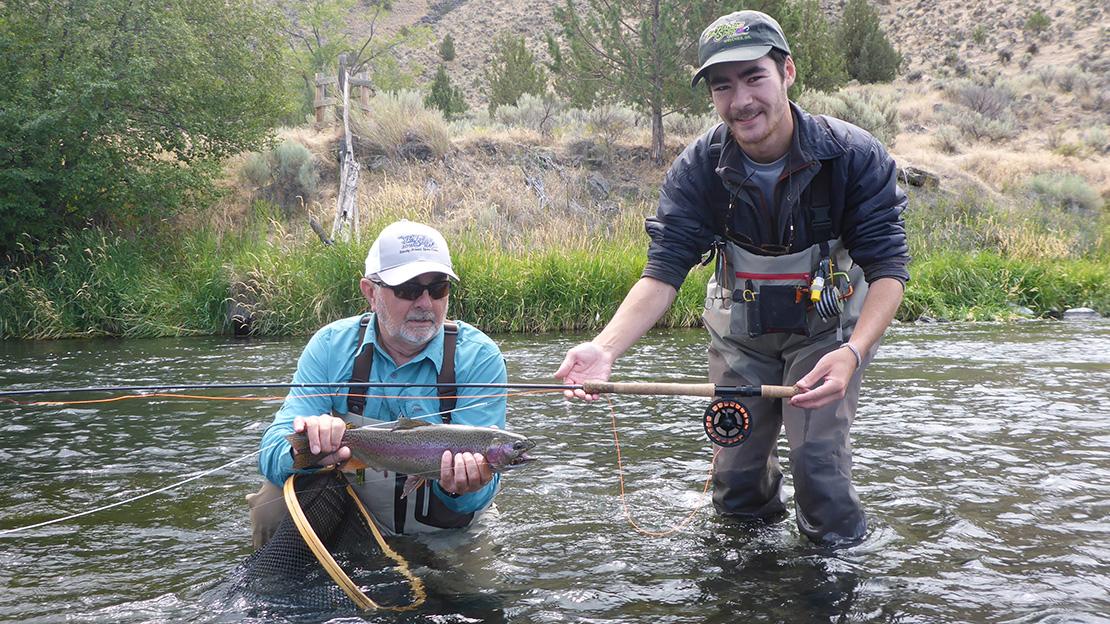 In this picture, Frank Day has just landed a native Deschutes River trout with a sculpin fly. His rod of choice is an Echo 4106 switch rod equipped with a Sage 4260 reel.