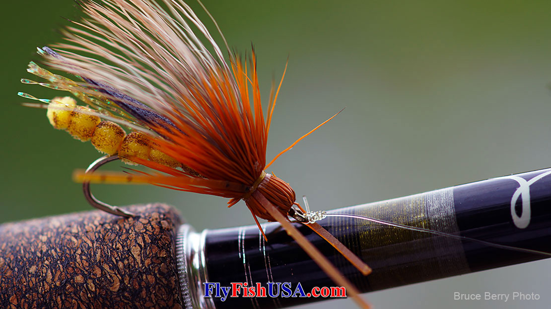 Pictured here: A Rogue River Golden Stonefly is fitting decoration for the handle on a Beulah Platinum PL590-4 rod.
