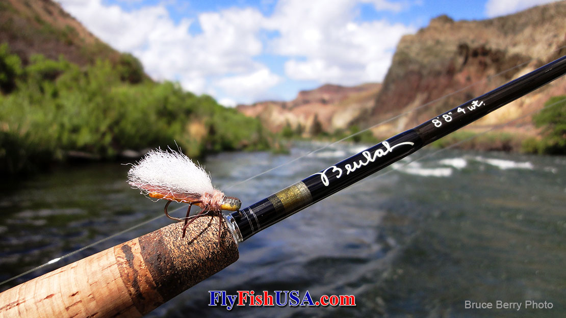 Pictured, a Beulah Platinum Pl488-4 rod, which is decorated with a True Golden Stonefly, with Oregon's Deschutes River in the background.