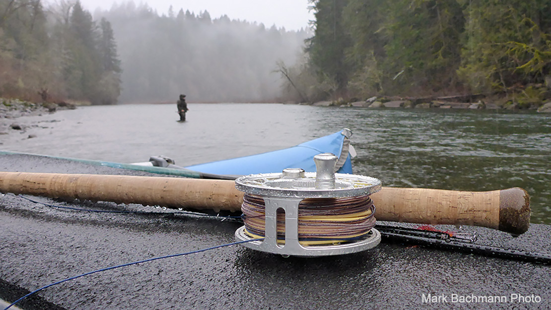 Every Hatch reel features a waterproof drag system. Evidence shown here in the rain, on the Sandy River in Oregon.