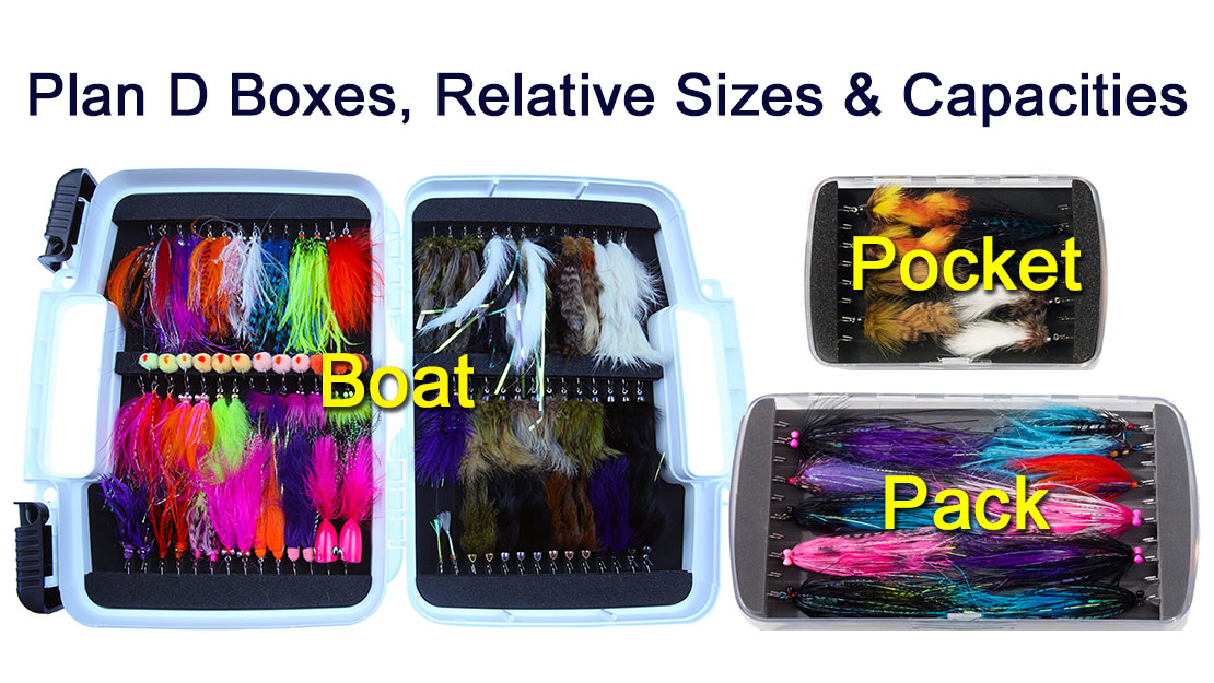 Plan D Articulated fly boxes fit many different sizes of large saltwater, steelhead, salmon and bass flies. Picture shows relative sizes and capacities.