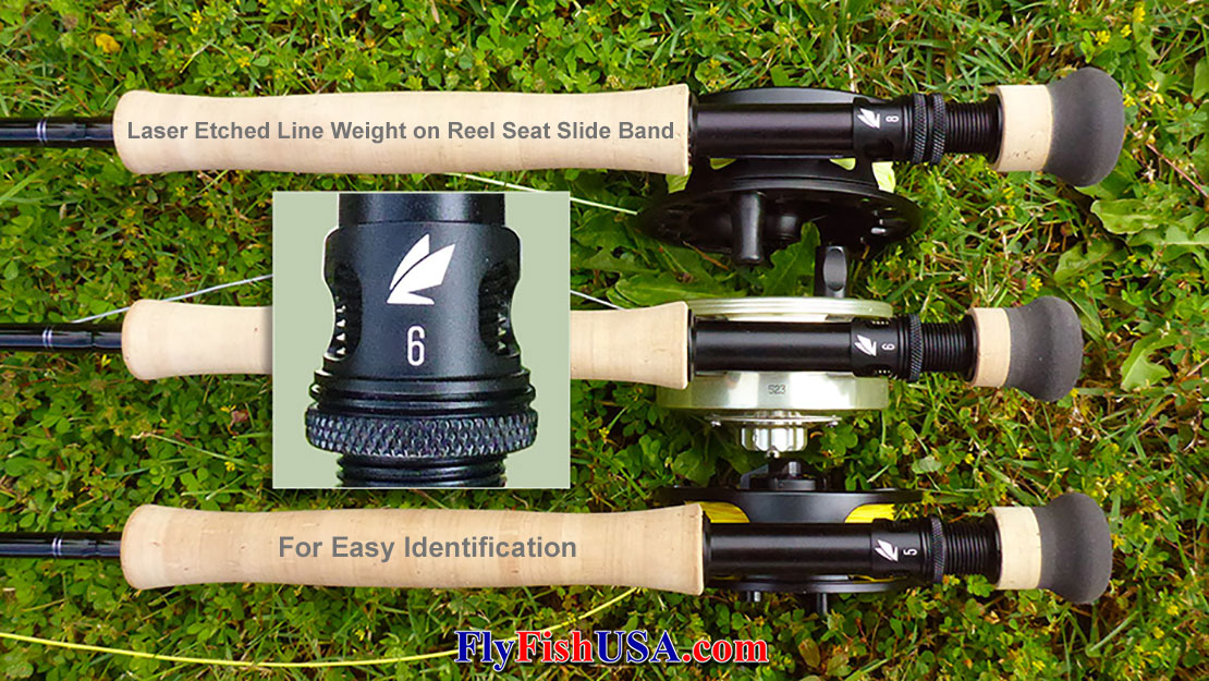 Sage X rods feature innovations such as KonneticHD Technology Graphite, and laser etched line weight numbers on each reel seat slide band for easy identification.