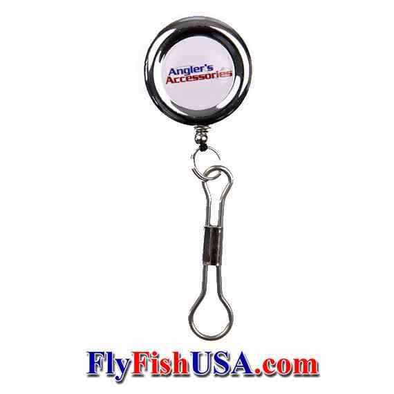 Anglers Accessories Retractor, Chrome, Pin-on, with stainless steel cable, front view, picture