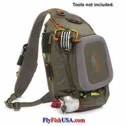 Fishpond Summit Sling Bag pictured loaded, tools not included, pictured