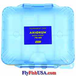 Meiho 16-compartment waterproof competition fly box, color translucent blue, closed, picture