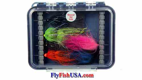Plan D Pocket Tube Fly Box, latched, flies pictured are not for sale, Picture
