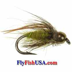 Picture, Bead Head Caddis Pupa, Olive