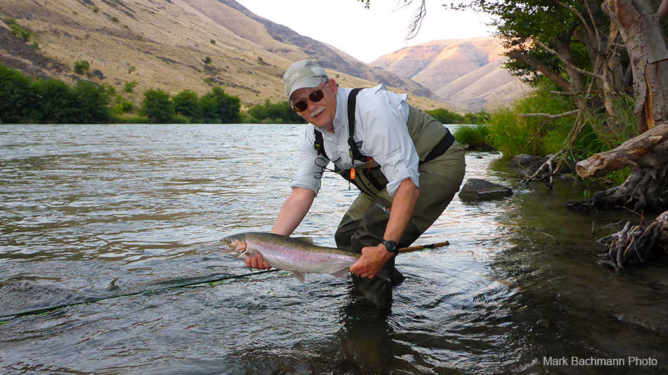 Angler Rick Pay landing a steelhead from Oregon's Deschutes River, while fishing with fishing guide Mark Bachmann from The Fly Fishing Shop in Welches, Oregon